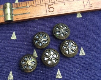 "Antique Metal Button Set - 5 Dainty Brass ""Twinkles"""