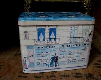 French Vintage Tin, Vintage French Tin, Decorative Tin, Kitchenalia, French Decor, French Style, French Home, French Kitchen, Storage Tin