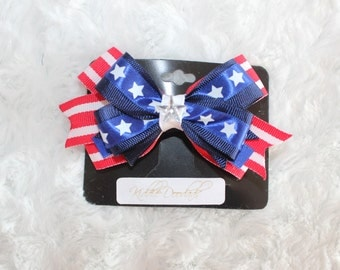 z 4th of July Hair Bow Clip