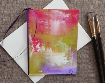 Art card Oil painting on canvas Abstract card Original art Birthday card Abstract art Happy birthday Greeting card blank Girlfriend card Art