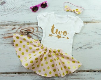 2nd Birthday Outfit with Twirl Skirt | Gold Two With Arrow with Pink & Gold Dot Twirl Skirt