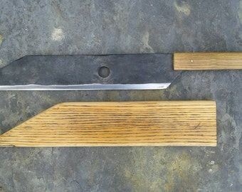 Hand forged seax machete hatchet with oak scabbard