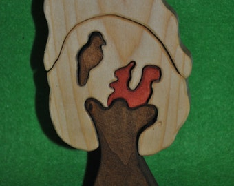 Puzzle Squirrel with bird - Wood puzzle - Wooden Puzzle - Puzzle toy - Education Set - Wood handmade toys- waldorf toy