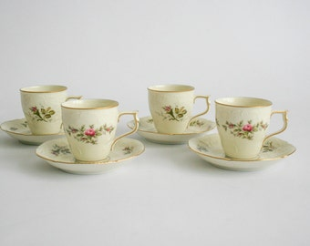Rosenthal Classic Rose Set of 4 Coffee Cups and Saucers
