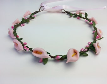 Calla lily flower crown, flower hair garland, flower hair wreath, flower girl, flower hair piece, festival crown, flower headband