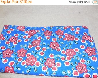 On sale Destash- Blue And Red Floral Fabric Remnant