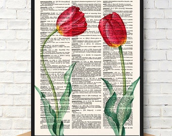 Tulip Botanical Print, Tulip Flower Print, Flowers Wall Art, Flower Decor Print, Botanical Print, Kitchen Decor Print, Nursery Room Art, 594