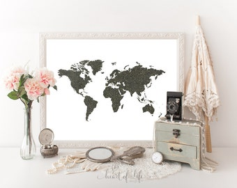World map printable art Chalkboard world map Gold and black map Map printable Gold glitter world map Black and gold printable Home decor art