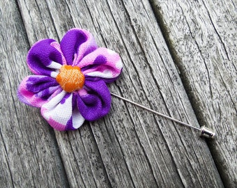 Purple Men Lapel Flower - Men Lapel Flower - Wedding Lapel Flower - Men Lapel Pin - Grooms Lapel Flower - Purple Flower Brooch - Brooch