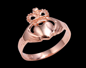 Rose Gold Claddagh Rings - Gold Traditional Claddagh Ring . Promise ring . irish jewelry . irish diamond claddagh engagement ring .