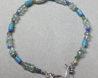 Beaded Bracelet- Gem, Trade and Sterling Beads.