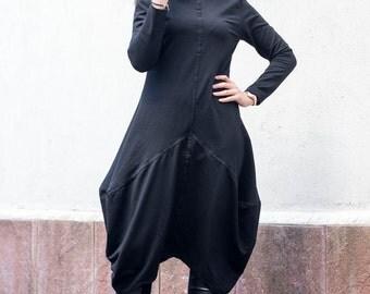 Plus Size Clothing, Steampunk Dress, Oversized Black Dress, Black Party Dress, Midi Dress, Asymmetric Dress, Avant Garde Dress, Black Tunic