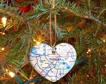 Baltimore Map Ornament