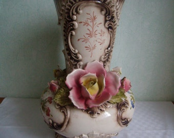 Huge Vase ceramic earthenware/Bassano Italy, polychrome, Vintage,