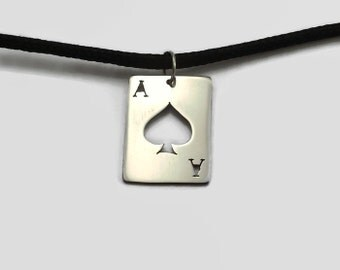 Ace of Spades Pendant - Heavy Metal Jewelry in Brass, Copper or Steel on Black Cord - Great for metal fans and gamblers