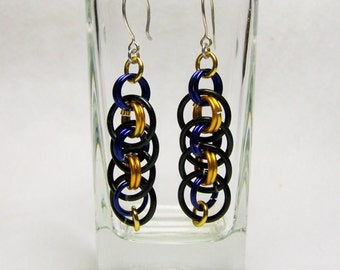 Baltimore Ravens Fans Chainmaille Earrings, Football Earrings, Football Jewelry, Gift For Her