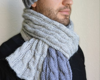 Hand knitted mens hat and scarf