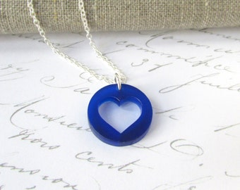 Heart Shaped Pendant - Midnight Blue - Heart Necklace - Laser Cut