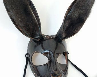 MADE TO ORDER | Black Bunny Rabbit Leather Handmade Masquerade Mask with Crystals