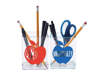 LIMITED QUANTITY Teacher Monogrammed Pen Cup Pencil Cup with colored edges