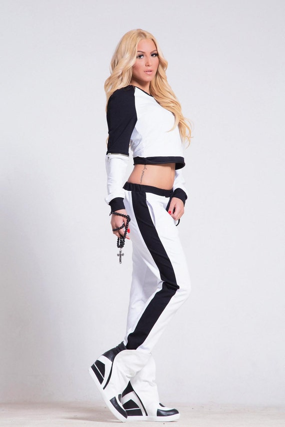 Black and white sports set / Crop top set /  Asymmetrical Tracksuit/ Jacket / Extravagant whiteTrousers / Casual cotton jacket and pants