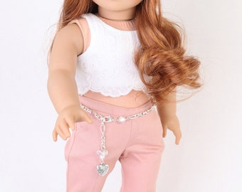 Handmade to fit like American Girl Doll Clothes, 18 Inch, Cropped Lace Top, Mauve Pink Denim Trousers, Silver Ballet Flats & Chain Belt