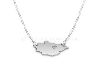 Mongolia Necklace - Mongolia map necklace, Mongolia charm necklace, Mongolia outline necklace