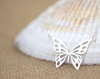 Silver Butterfly Necklace, Sterling Silver Butterfly, delicate butterfly jewelry, butterflies, monarch butterfly, delicate everyday necklace