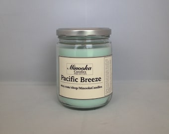 Pacific Breeze Scented Soy Candle, 13oz, Mason Jar