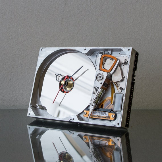Hard Drive Clock - Unique Desk Clock - Industrial Clock - Modern Clock - Computer Clock - Father Gift - Husband Gift - Boyfriend Gift