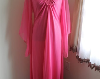 70s Pink Maxi Dress, Size 14 Fingertip Chiffon Sleeves V Neck Full Maxi Gown Lace Trim