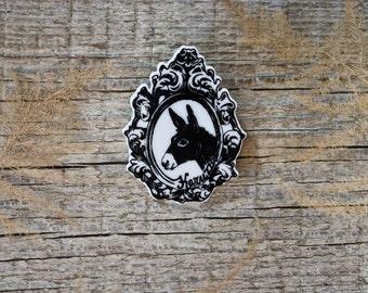 Donkey Brooch,Nice Donkey Badge,Farm Animal Jewelry,Animal Lover,Funny Lapel Pin,Vegan,Illustration Brooch,Unique Brooch,Original Gift