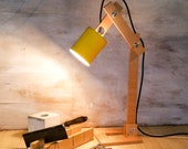 "Square table wood lamp yellow, lighting, wood desk lamp, lights, desk lamp, wood lamp, houseware,handmade lamp, lamp, ""Yellow square Earth"""