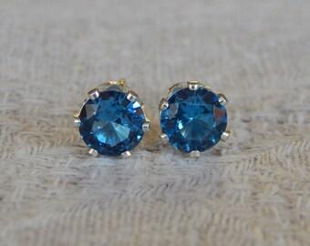 Blue Zircon 6 mm Studs, Zircon Studs, Blue Zircon Stud Earrings, Blue Zircon Post Earrings, December Birthstone, Lab Created Blue Zircon
