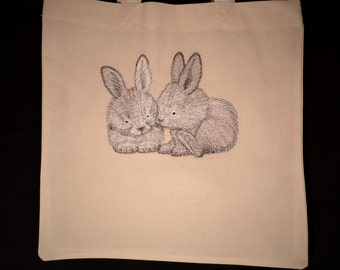 Calico Rabbit Embroidered  Shopping Bag/ Tote for Life