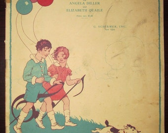 Vintage 1920s Children's Piano Book Off We Go! A Book of Poetry Pieces 1928 Sheet Music