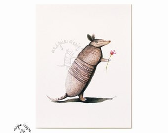 Armadillo with Flower - Watercolor Painting Giclee Print