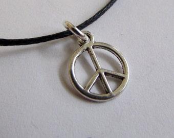 Peace Charm On Wax Cord Adjustable Unisex Free UK Shipping + Gift Bag
