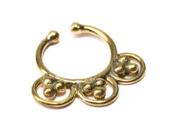 Septum Ring Brass Nickel Free Septum Fake Septum Tribal Jewelery Indian Nose Ring B32 Gift Boxed and Gift Bag Free UK Delivery