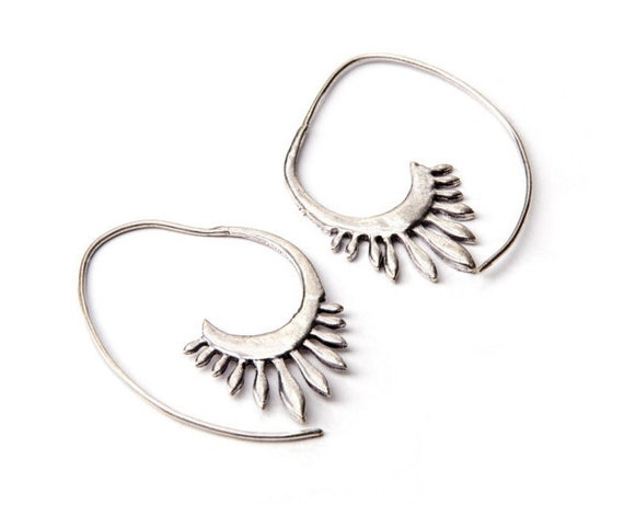 Tribal Angel Wings White Brass Earrings Tribal Jewelry Free UK Delivery Gift Boxed WB8