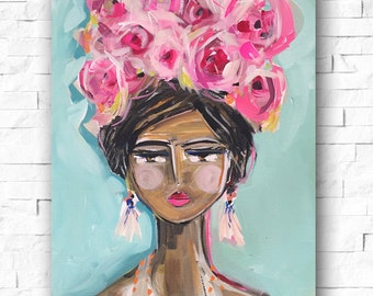 Girl PRINT portrait impressionist paper OR canvas, various, abstract girl print swim cap
