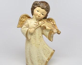 "1960's Brinn's Christmas Angel Figurine Playing Violin, 8-3/4"" H, Good Condition."