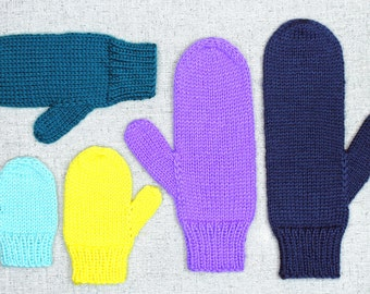 Knitting Pattern: Basic Knit Mittens in All Sizes