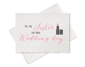 Cute card, from bride to sister to my Sister on her wedding day, card to bridesmaid, thank you cards for wedding party
