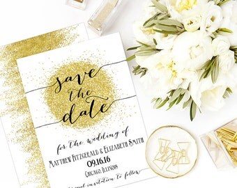 Save The Date, Save-The-Date, Wedding Invitation Card Template, Printable Save the Date, PDF, Editable, GLTR1