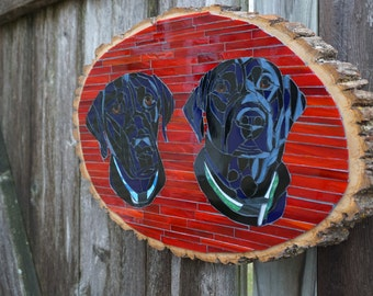 Custom Made Mosaic Plaque With 2 Dogs