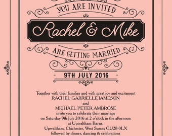 Personalised Pastel Pink Elegant Vintage Wedding Invitation with envelope