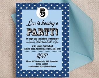 Personalised Navy Blue Retro Stars Birthday Party Invitation Cards
