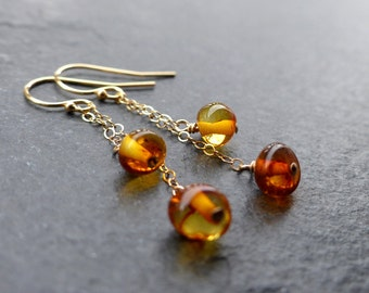 Baltic amber earrings, 14k gold filled, sterling silver, amber jewelry, genuine amber, natural jewelry, amber dangle earrings