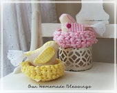 Crocheted Birds Nest, Spring Decor, Easter Decor, Cottage Chic, Shabby Chic, Yellow, Pink,  Fabric Nest, Country, Fabric Bird, Mantle Decor